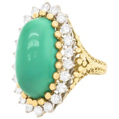 Turquoise and Diamond-Set Ring