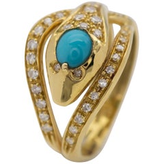 Turquoise and Diamond Snake Ring