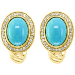 Turquoise and Diamond Stud Earring 14 Karat Yellow Gold