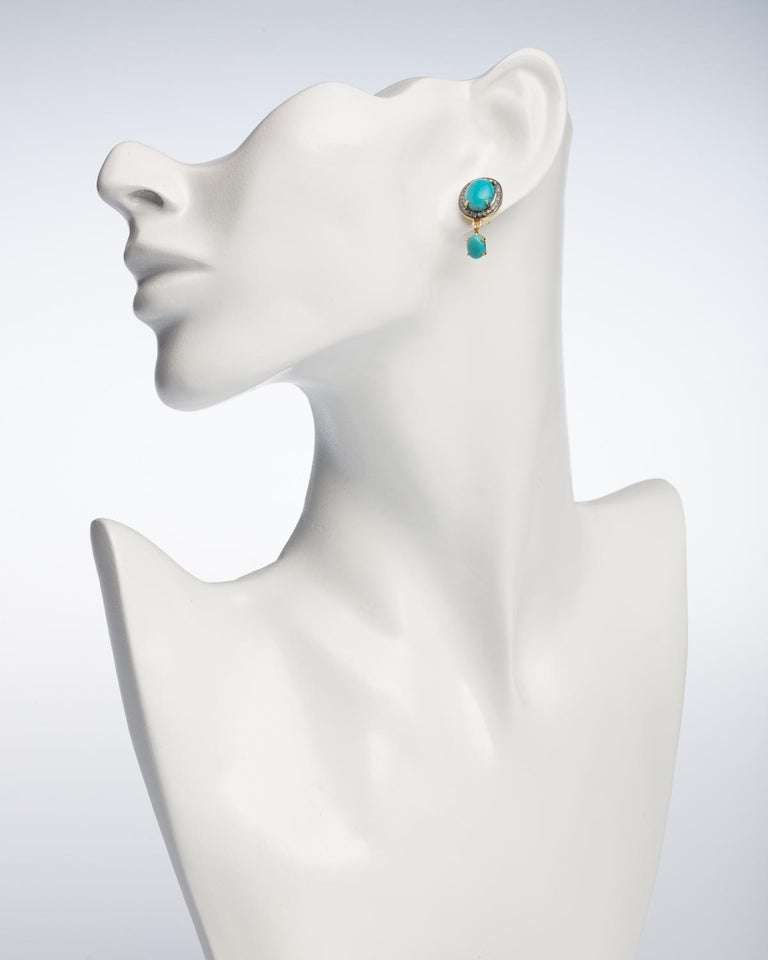 Cabochon Turquoise and Diamond Stud Earrings For Sale