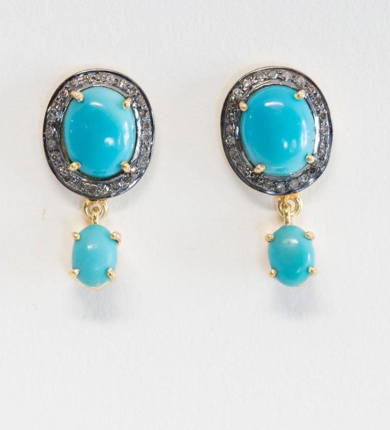 Turquoise and Diamond Stud Earrings In Excellent Condition For Sale In Nantucket, MA