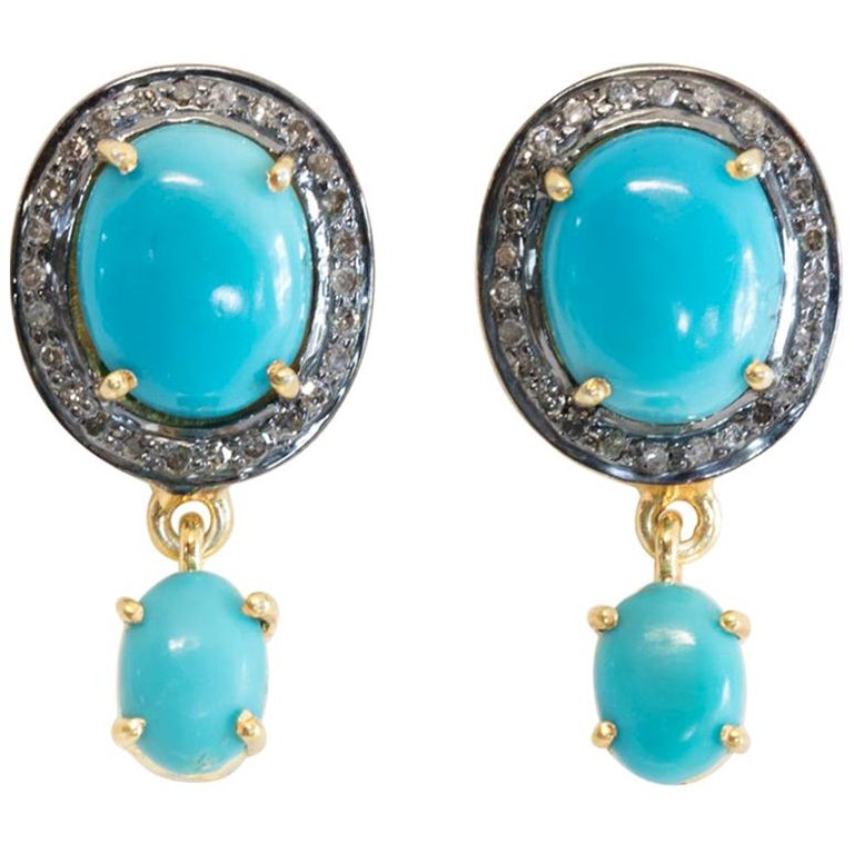 Turquoise and Diamond Stud Earrings For Sale