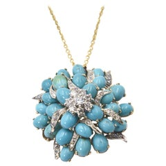 Turquoise and Diamond Three Dimensional Flower Gold Brooch Pendant Necklace