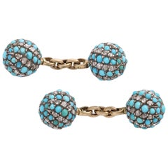 Turquoise and Diamond Victorian Cufflinks