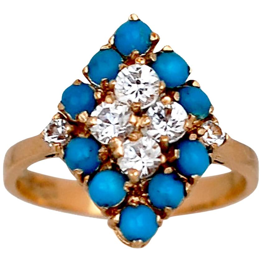 Turquoise and Diamond Vintage Ring