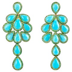 Turquoise and Emerald Dangle Earrings in Yellow Gold