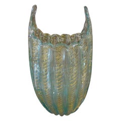 Turquoise and Gold Murano Glass Vase Attributed to Barovier & Toso