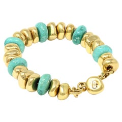 Turquoise and Gold Pebble Beads Bracelet in 18k Made in Italy