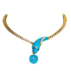 Turquoise and Gold Serpent Locket Necklace