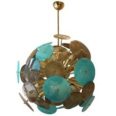 Turquoise and Gold Sputnik Chandelier with Murano Glass Disks
