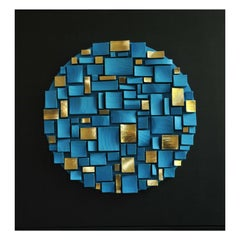 Turquoise and Gold Wall Sculpture by Roberto Milan Scultura