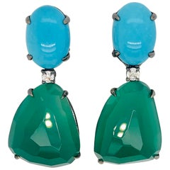 Turquoise and Green Agathe Diamonds with Black Gold 18 Karat Chandelier Earrings