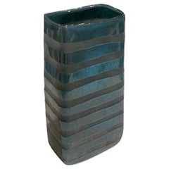 Turquoise and Grey Glass Rectangular Shape Glass Vase, Romania, Contemporary