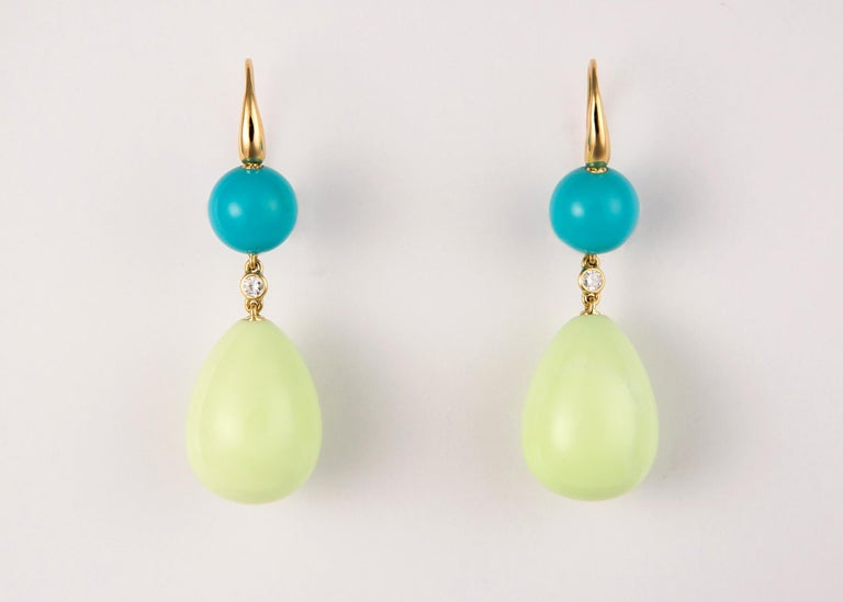 Contemporary Turquoise and Lemon Chrysoprase Earrings For Sale