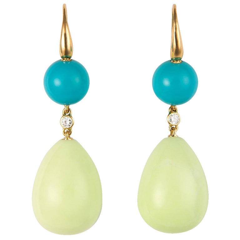 Turquoise and Lemon Chrysoprase Earrings For Sale