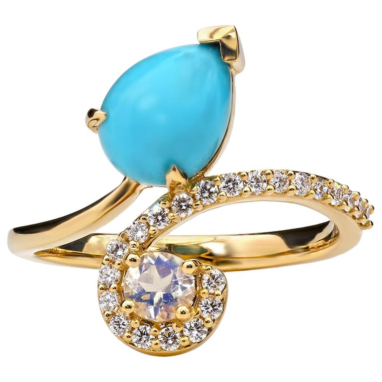 Turquoise and Moonstone Ring, 18 Karat Yellow Gold