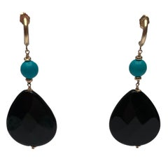 Marina J Turquoise and Onyx Earrings with 14 Karat Yellow Gold ear Studs