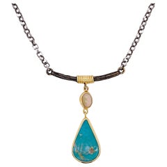 Turquoise and Opal Bar Necklace, Mixed Metal, Handmade Cable Neck Chain