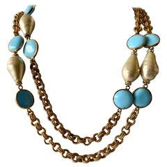 Turquoise and Pearl Gilt Necklace