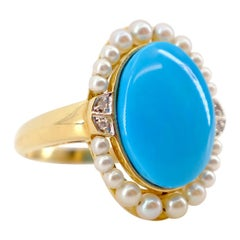 Turquoise and Pearl Ring in Yellow Gold with Diamonds