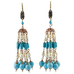 Turquoise and Pearls Beaded Dangle Earrings