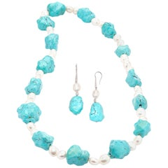 Turquoise and Saltwater Pearl Necklace and Matching Earrings Set