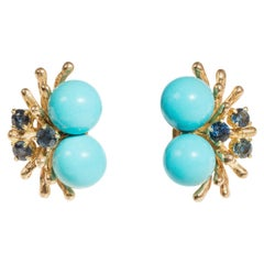 Turquoise and Sapphire Earrings, 14 Carat Yellow Gold