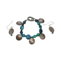 Turquoise and Silver American Indian Heads Bracelet and Drop Earrings