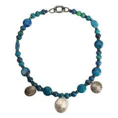 Turquoise and Silver American Indian Heads Necklace Estate Find