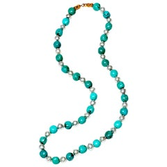 Turquoise and Southsea Pearl Necklace
