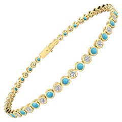 Turquoise and White Diamond Tennis Bracelet in 18 Karat Yellow Gold