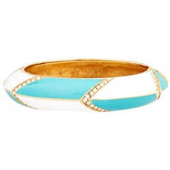 CINER Turquoise and White Enamel Galaxy Bracelet with Crystal Rhinestones