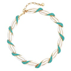 Turquoise and White Enamel Link Choker Necklace By Crown Trifari, 1960s