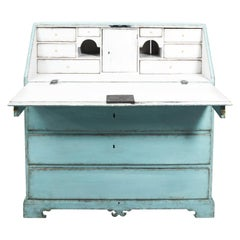 Turquoise and White Painted Empire Writing Table, circa 1820s