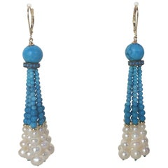 Turquoise and White Pearl Tassel Earrings with 14 Karat Yellow Gold Lever Backs