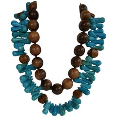 Turquoise and Wood Gemstone Necklaces