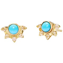 Turquoise and Yellow Diamond Gold Stud Earrings