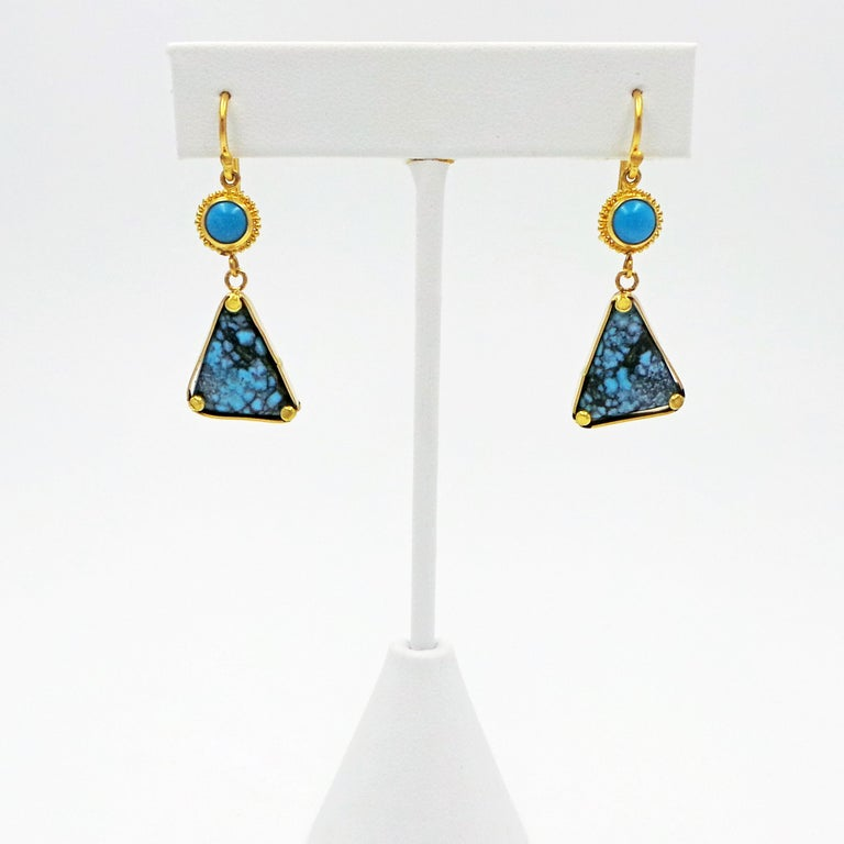 Hand-fabricated, two tier 22k yellow gold French wire dangle earrings featuring high-grade Sleeping Beauty Turquoise and Kingman Matrix Turquoise.