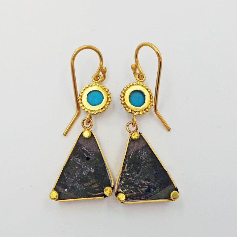 Women's Turquoise and 22k Yellow Gold Dangle Earrings For Sale