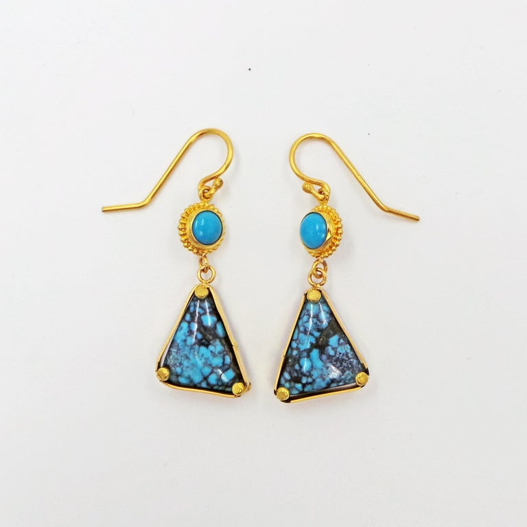 Turquoise and 22k Yellow Gold Dangle Earrings For Sale 2