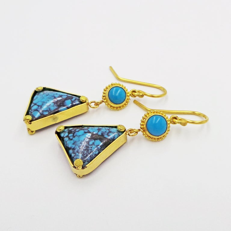 Turquoise and 22k Yellow Gold Dangle Earrings For Sale 1