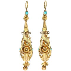 Turquoise and Yellow Gold Earrings, Antique, circa 1820