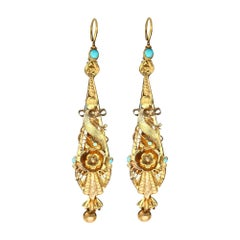 Turquoise and Yellow Gold Earrings Antique, Circa 1820