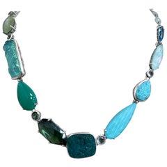 Turquoise, Aqua, Chalcedony, and Green-Blue Quartz Choker Necklace