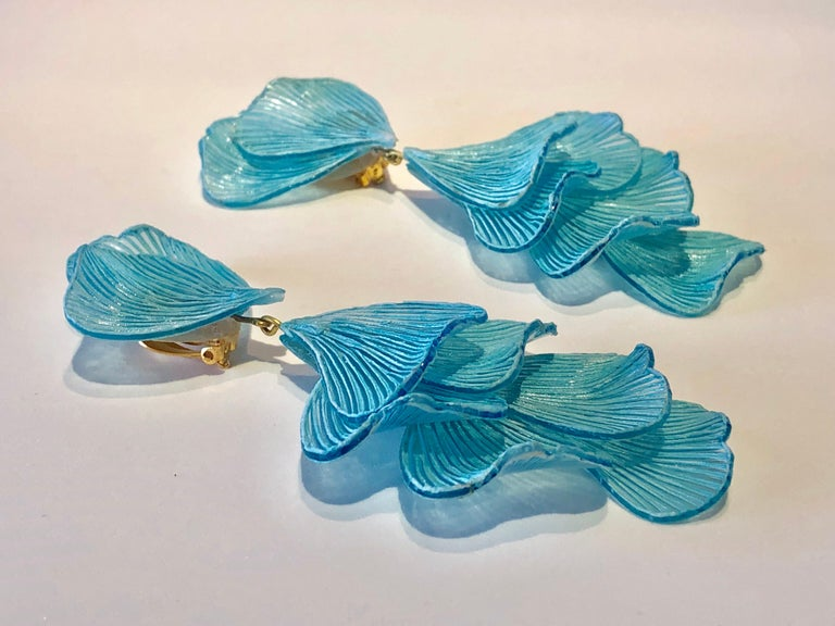 Contemporary Turquoise Architectural Wave Chandelier Statement Earrings For Sale