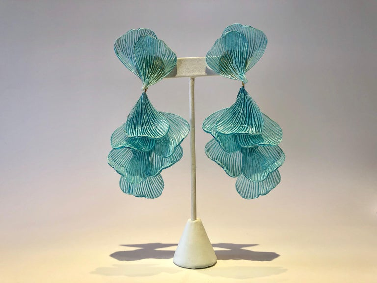 Turquoise Architectural Wave Chandelier Statement Earrings For Sale 2