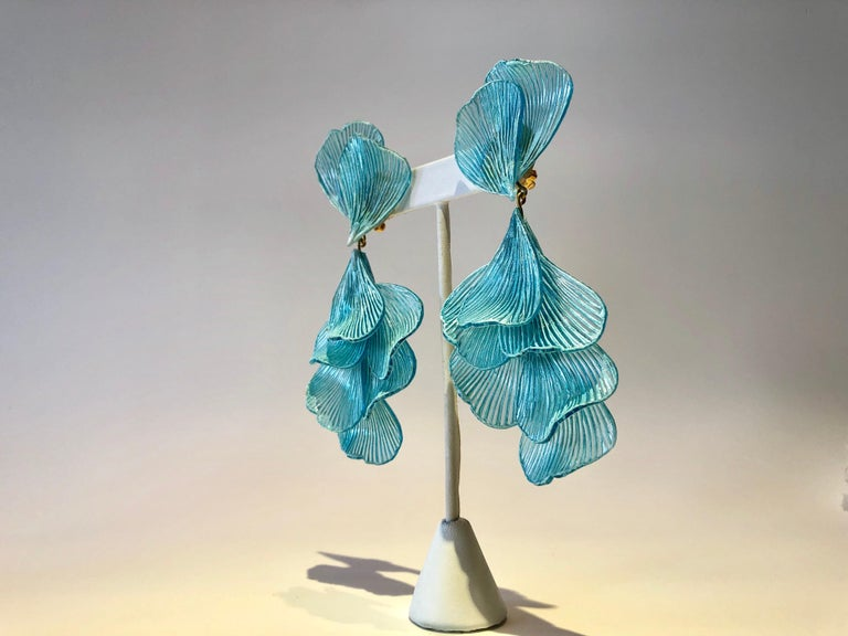 Turquoise Architectural Wave Chandelier Statement Earrings For Sale 3