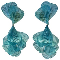Turquoise Architectural Wave Chandelier Statement Earrings