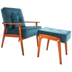 Turquoise Armchair with Footrest, Poland, 1960s