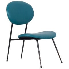 Turquoise Armchair with Imitation Leather Cover, Italy, 1950s